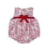 Hirolan Neugeborenes Overall Baby Strampler Taufbekleidung Junge Mädchen Schlafanzug Bogen Ärmellos Spielanzug Kleider Outfits Hosenträger Shorts Outfit (80, Rot)