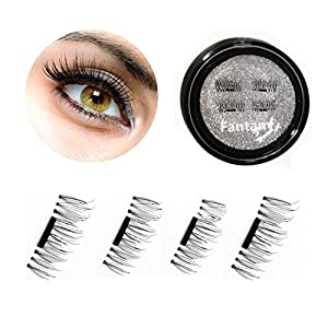 Fantany Magnetic Faux cils Extension 3D réutilisable, NON COLLIE REQUISE Fait à la main Mince Look naturel Fake Cils, 0,2 mm Aimant Facile à appliquer Eye Lashes 1 paire avec Nice Case