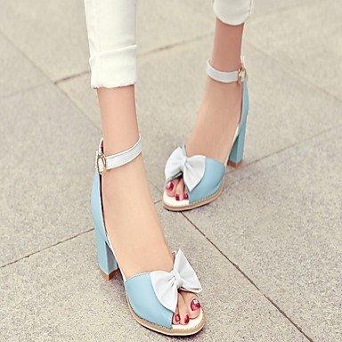 LvYuan Da donna Sandali Finta pelle PU (Poliuretano) Estate Autunno Footing Fiocco Quadrato Bianco Blu Rosa 5 - 7 cm Blue