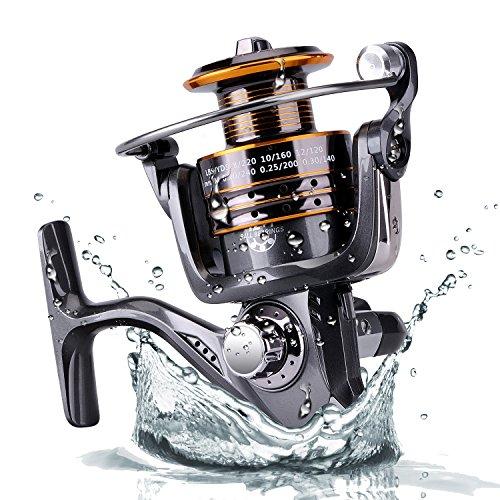 Plusinno® Pesca Spinning Carretes Agua dulce Agua salada con 5,2: 1 Relación de Metal Gear Cuerpo Izquierda / derecha intercambiable Carrete manija plegable