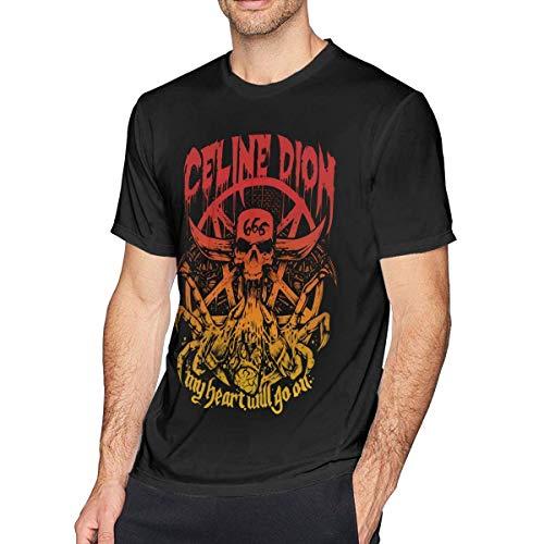 es Oberteil und Bluse, Mens Fashion Celine Dion 'My Heart Will Go On Tshirts Black ()