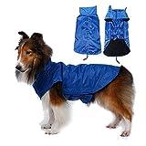 SUPEREX® Pet Dog Coat Jacket Hund costüm wasserdicht Hundepullover Hundemantel, Regenjacke Regenmantel Winterjacke Hundebekleidung Hundejacke winter Warm Wintermantel Hundemantel für kleine mittlere große Hunde (Blau, XL)