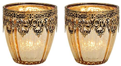 G.W. Teelichtgläser 2er Set, Teelichtkerzenhalter orientalisches Design, Glas und Metall in goldenen Farbtönen, Maße pro Stück 8 x 9 x 8 cm