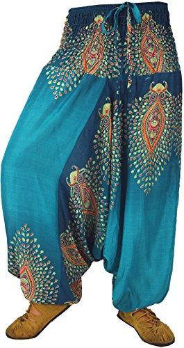 Guru-Shop Afghani Hose Haremshose Pluderhose Pumphose Haremshose Aladinhose, Damen, Blau, Viskose, Size:38, Pluderhosen, Aladinhosen Alternative Bekleidung Petrol