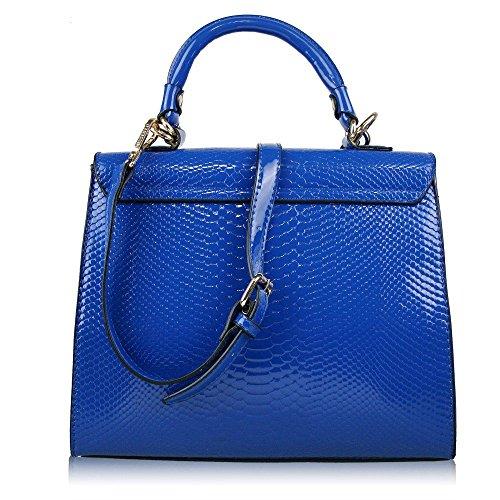 Miss Lulu, Borsa a spalla donna - Twist Lock Blue