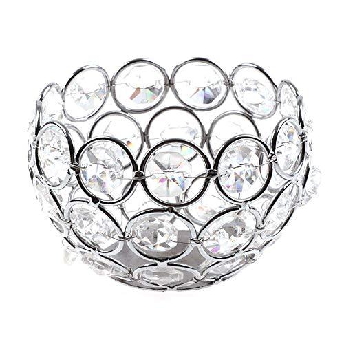 Ogquaton Silber Kristall Kerzenhalter Teelicht Kerzenhalter Hochzeit Weihnachtsfeier Tischdekoration Herzstück Geschenke Schüsselform Langlebig und nützlich (Kristalle Herzstück)