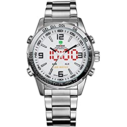 Alienwork DualTime LED Analogue-Digital Watch Multi-function Wristwatch Stainless Steel white silver OS.WH-1009-2
