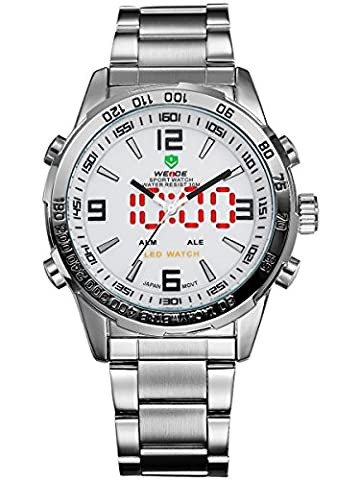 Alienwork DualTime LED Analogue-Digital Watch Multi-function men watches Stainless Steel white silver OS.WH-1009-2