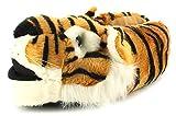 Wynsors Herren/Herren Orange/Schwarz/weiß Kunstpelz Tigerkopf Hausschuhe Neuheit - orange/Schwarz/weiß - UK GRÖßEN 6-11 - Orange/Schwarz/weiß, 45