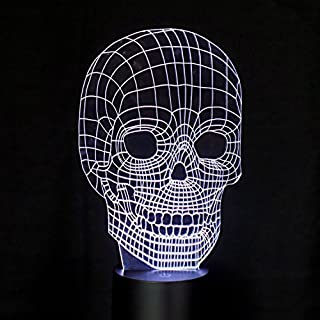 Alisabler Optical Illusion 3D Dice Lighting,3D Classic Skull LED Lamp - Produces Unique Lighting Effects and 3D visualization - Amazing Optical Illusion