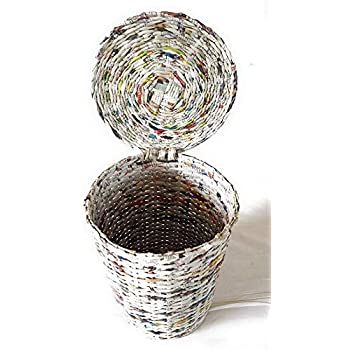 """Sonas Creations PAPERUS Dustbin/Waste Basket with Fixed LID Small 5 L and 8"""" Tall Eco Friendly, Handmade Weaved Out of Paper Ropes (Natural Colour)"""