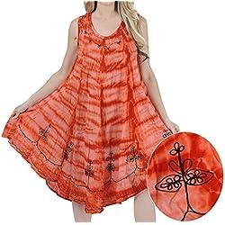 La Leela viscosa mono Tie Dye bordado encubrimiento cuello redondo de color naranja vestido corto ocasional