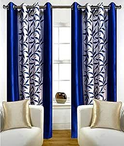 Srk Trendz 1 Piece Kolawari Polyester Eyelet Window Curtain (Blue, 4 x 5)