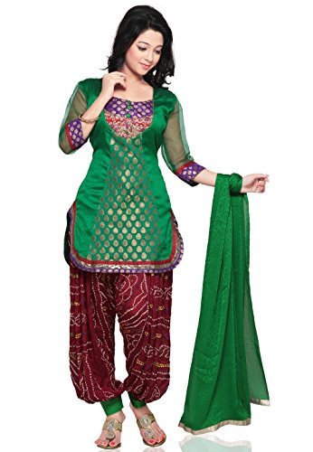 Unstitched Woven Brocade Silk Punjabi Suit in Green