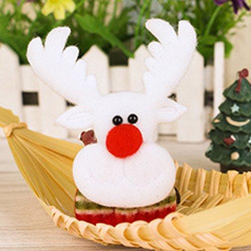 QHGstore Weihnachtsschneemann Weihnachtsmann Ren LED Brosche Weihnachten Stoff Ornament Elch -