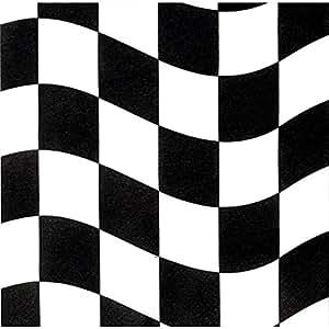 18 Petits serviettes cocktail de formule 1 noir/blanc