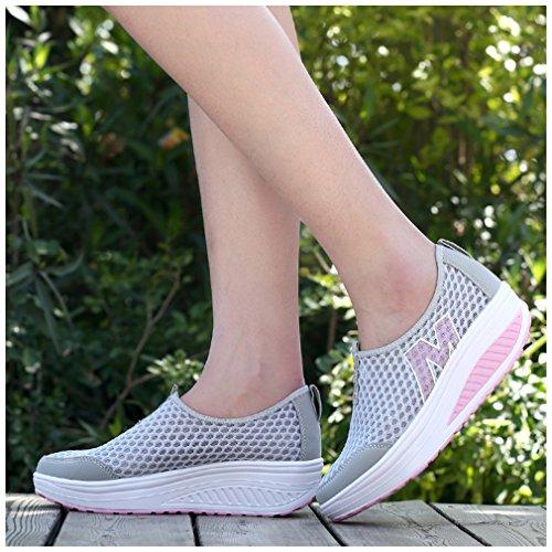 NEWZCERS Maillot d'été pour femmes glisser-sur la plate-forme chaussures de remise en forme de travail sneaker Gris