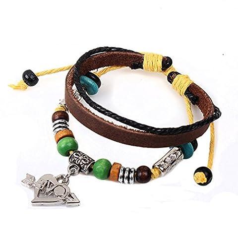 Véritable Spark pour femme fille/amour Cadeau la flèche d'amour Pendentif Cuir Perles 3couches Charm Bracelet