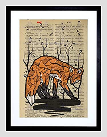 UPCYCLE DICTIONARY FOX DRAWING ANIMAL FRAMED ART PRINT POSTER
