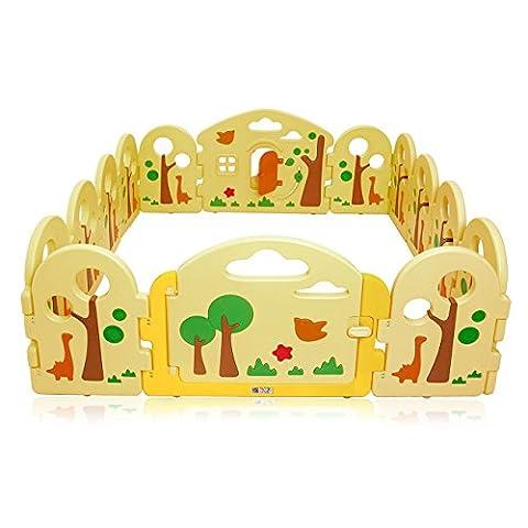 BABY VIVO Laufgitter Laufstall Baby Absperrgitter Krabbelgitter Schutzgitter für Kinder aus Kunststoff mit Tür und Spielzeug 14 Elemente - Forest
