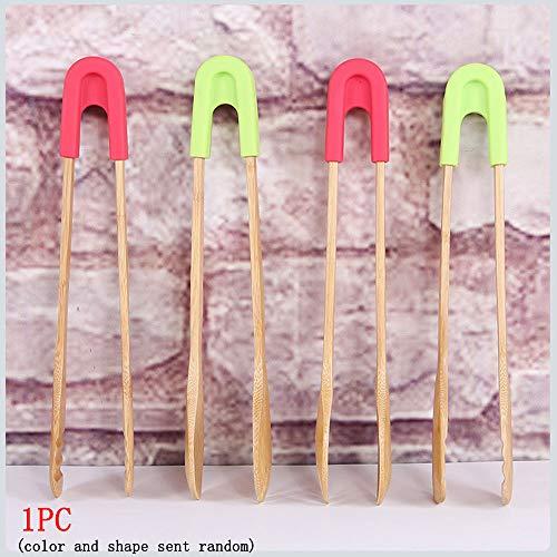 BBQ Food Brot Snack Clip Natürliche Bambus Toaster Zange Silikon Back Buffet Werkzeug 3in1 Clamp Spork 1 stück -