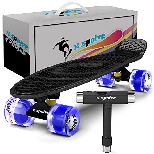 Xspolve 55cm Mini Cruiser Stil Skateboard mit Led-Leuchten für Kinder,Jugendliche,Erwachsene und Anfänger