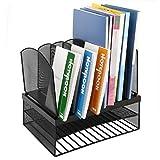 CRUODA Organizador de escritorio con 6 secciones verticales / 2 horizontales, estante de escritorio de oficina de malla de metal negro, para documentos, revistas, cuadernos