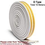 OUTERDO Rubber Seal Foam Tape Foam Seal Strip,(5 Meters x2 attached seals, total 10 Meters) D Type Self Adhesive Home Window Door Draught Rubber Excluder Soundproofing Avoidance Rubber Weatherstrip
