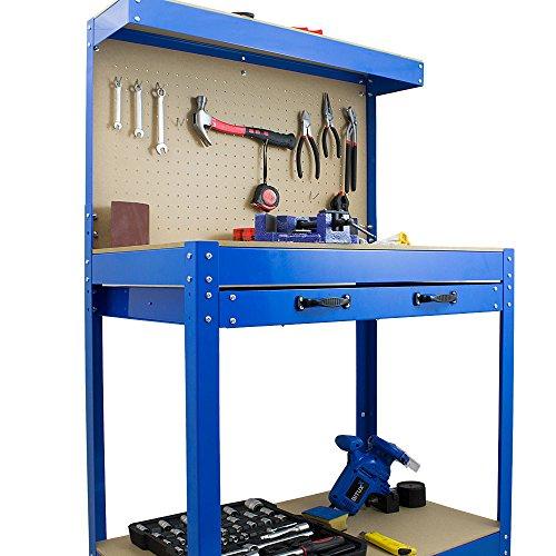 BITUXX® Werkbank Werktisch Arbeitstisch Arbeitsplatte Lochwand Schublade Werkstatt 80 x 50 x 140 cm - 3