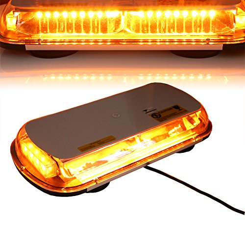 Oversize 44 LED High Intensity Law Enforcement Hazard Beacon with Magnetic Base for Car Truck Boat, 43 x 22.5 x 8cm, Amber, T Tocas