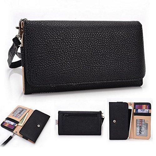 Kroo Pochette Téléphone universel Femme Portefeuille en cuir PU avec dragonne compatible avec Panasonic P11/P51 Multicolore - Violet/motif léopard noir - noir