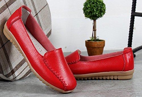 Easemax Femme Confortable Talon Plat Bout Carré Mocassins Rouge