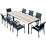 ASS Gartengarnitur Edelstahl Teak Set: Tisch 160x90 cm + Tisch 90x90 + 8 Sessel Serie Kuba-Schwarz von