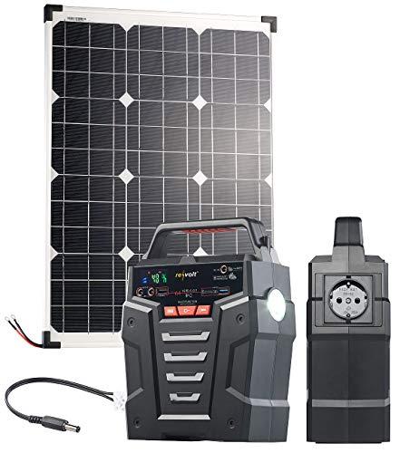 reVolt Stromspeicher: Solar-Generator & Powerbank mit 50-W-Solarzelle & Anschlusskabel, 75Ah (Solar-Anlagen)