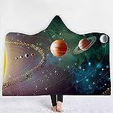 FGVBWE4R Planet Raumschiff Raumstation Raum mit Kapuze Decke Sherpa Fleece Tragbare Plüsch Decke auf Bett Sofa Dicke warm-130x150cm