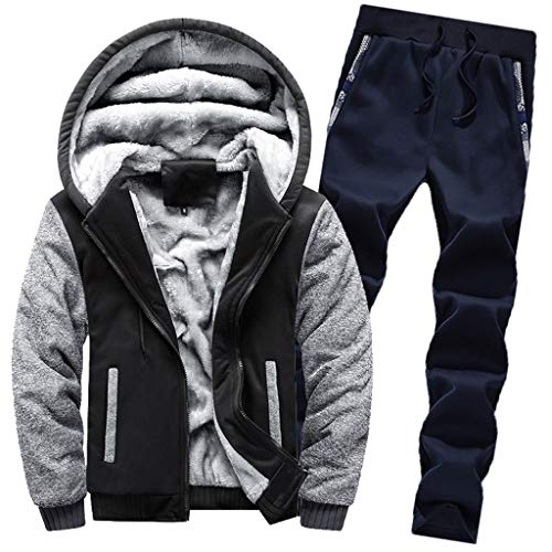 Conjunto de chándal para Hombre, para Hombre Chándal Warm Fleece Sport Hooded Sweatshirt Coat Hoodies + Pants Sweat Suit Absolute
