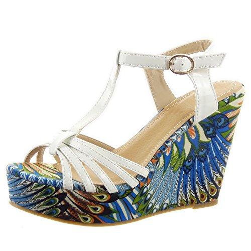 Sopily - Scarpe da Moda sandali scarpe decollete cinturino Zeppe alla caviglia donna fiori multi-briglia Tacco zeppa piattaforma 11 CM - Bianco FRF-MT-318 T 40