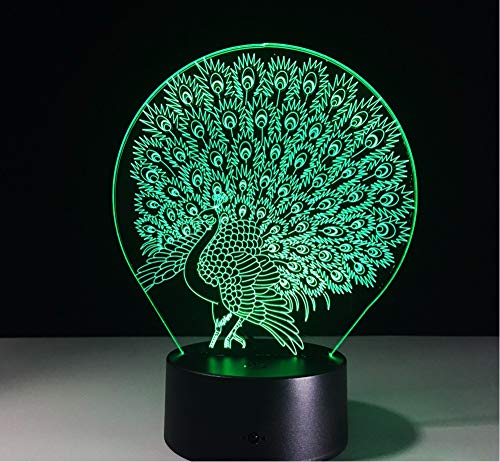 Lyqyzw 3D Pfauenlampe Home Decoration Atmosphäre Lava Lampe 7 Farbwechsel Led Illusion Nachtlicht Peafowl Splendid Tail Kids Geschenk Touch-Schalter