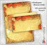 TATMOTIVE im Set Motivpapier-Blumen Antik (25 Sets 25+25 Briefpapiere + Umschläge) Präsentmappe: herbstliche Blumen, DIN A4 297 x 210 mm