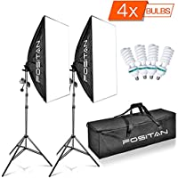 """FOSITAN 20""""X28""""/50X70cm Photography Softbox Soft Box Photo Studio 1600W 5500K Continuous Lighting Kit Including 2M Light Stand and 4x E27 CFL Bulbs Light Lighting Kit for Photo Shooting Video Portrait"""