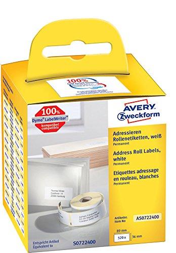 Wireless Label-drucker Dymo (Avery Zweckform AS0722400 Rollenetiketten (Etiketten für Dymo Drucker, 89 x 36 mm, Adressaufkleber) 520 Stück weiß)
