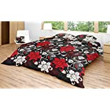 EIN SOF Cotton Double Bedsheet King Size (90x100 Inches) With 2 Pillow Covers Combo Set, Double Bed, King Size Cotton Bedsheet,3D Printed Technology, Floral Design (Black, 150 TC)