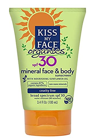 Kiss My Face Body & Face Mineral SPF 30 Natural Organic Sunscreen, 3.4 Ounce by Kiss My Face