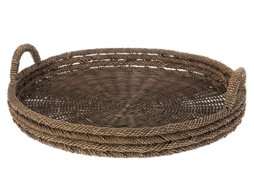 KOUBOO redonda bandeja para servir en Lampakanay y mimbre