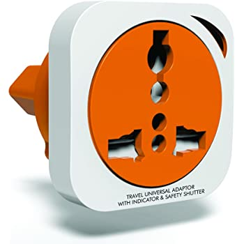 GM 3009-2 Pin Square Universal Travel Adaptor (with Surge Protector and Safety Shutter)