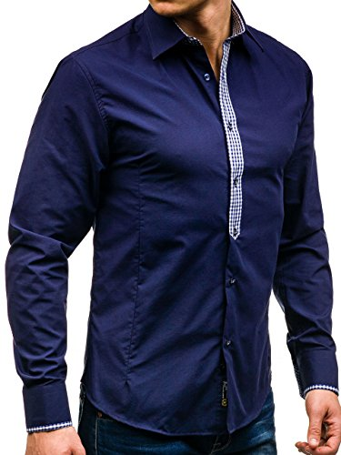 BOLF Herren Hemd Langarm Casual Business Men Slim Fit Shirt 2B2 Krawatte Dunkelblau