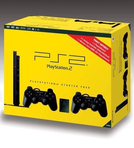 Playstation 2 - PS2 Konsole, black - Starter Pack (Ps2 Komplett Konsole)