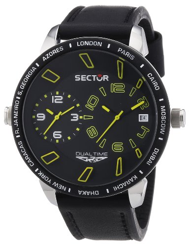 Sector Herren-Armbanduhr XL 400 Analog Quarz Leder R3251119007