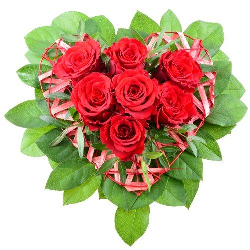 floristikvergleich.de Blumenversand – Blumenstrauß – Red Heart – mit 7 roten Rosen