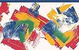 Rouge Jaune Bleu vert blanc abstrait Frise pour papier peint Motif rayé, rouleau de 15'x 17,1cm
